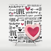 lv Shower Curtains featuring Saint Valentin Love LV by pepion