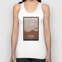 travel poster Tank Tops featuring Tatooine Travel Poster by Tawd86