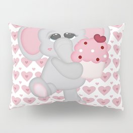 Baby Elephant Loves Cupcakes Pillow Sham