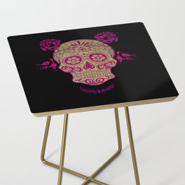 Sugar Skull Green and Pink Side Table