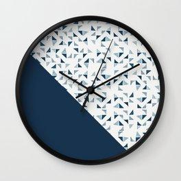 Indigo Triangles #society6 #pattern #indigo Wall Clock