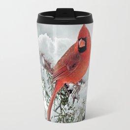Cardinal on Snowy Branch #3 Travel Mug
