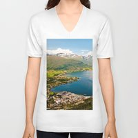 norway V-neck T-shirts featuring Sandane, Norway by MankiniPhotography
