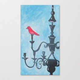 Red Bird on Chandelier Canvas Print