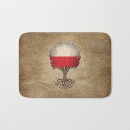Vintage Tree of Life with Flag of Poland Bath Mat
