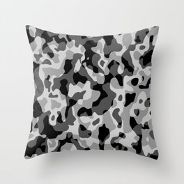 Grey Camouflage Army Military Pattern Throw Pillow
