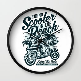 Riding Scooter On The Beach Wall Clock