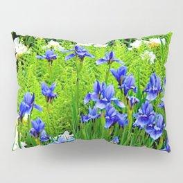 BLUE & WHITE  IRIS FLOWER GARDEN Pillow Sham