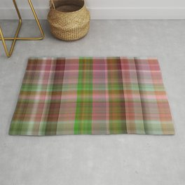 Red Rose with Light 1 Plaid 1 Rug