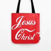 christ Tote Bags featuring JESUS CHRIST by The Fugu Project