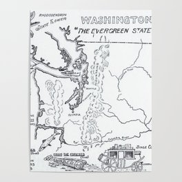 Vintage Map of Washington State (1912) Poster