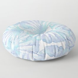 Shell Ya Later - Turquoise Seashell Pattern Floor Pillow