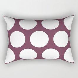 Large Polka Dots: Burgundy Rectangular Pillow