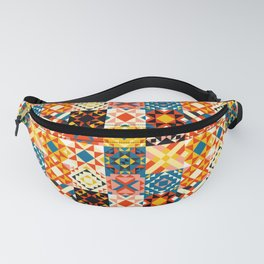 Maroccan tiles pattern with red an blue no2 Fanny Pack