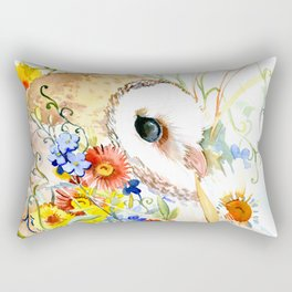 barn owl and flowers floral owl decor artwork Rectangular Pillow