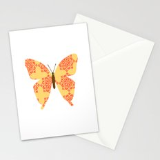 Damask Butterfly Yellow and red color Stationery Cards