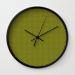 Bright Cats Eye Yellow and Black Hell Hounds Tooth Check Wall Clock