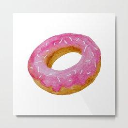 Watercolor donut pattern - pink Metal Print