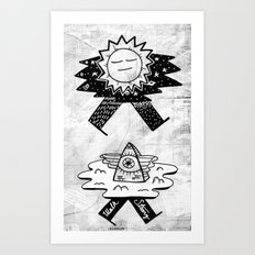 Sun / Pyramid walker combo Art Print