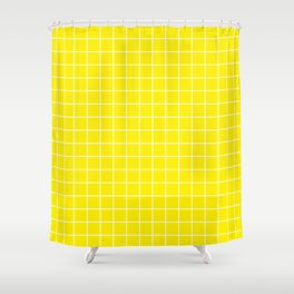 Yellow (process) - yellow color -  White Lines Grid Pattern Shower Curtain