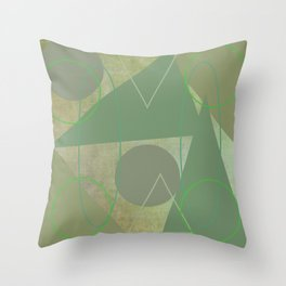 Subdued Green Geometric Abstract Throw Pillow