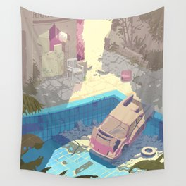 Abandoned swimming pool - Pixel art by Romain Courtois Wall Tapestry