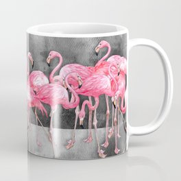Flamingo Collage in Watercolor and Ink Coffee Mug
