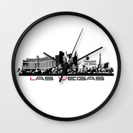 Las Vegas skyline black Wall Clock