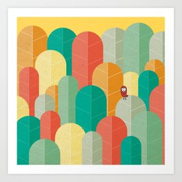 080 - Owly visits the poplar forest in autumn III Art Print
