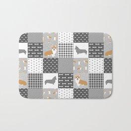 Corgi Patchwork Print - grey, dog, buffalo plaid, plaid, mens corgi dog Bath Mat