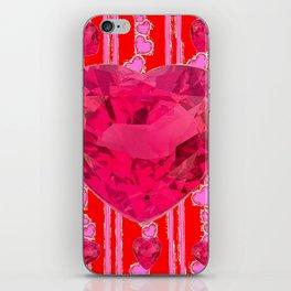 PINK JEWELED RED VALENTINE HEARTS  DESIGN iPhone Skin
