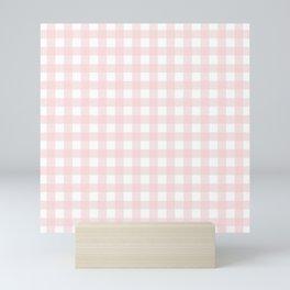 Pastel pink gingham pattern Mini Art Print