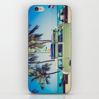 vw bus iPhone & iPod Skins featuring VW Bus Beach Vacation by Limitless Design
