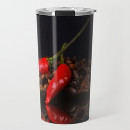Chili on coffee beans in the mirror design Travel Mug