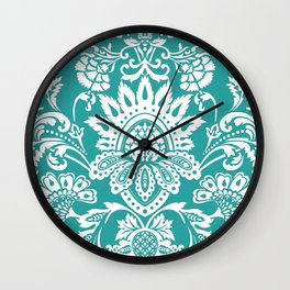 Damask in emerald Wall Clock