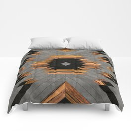 Urban Tribal Pattern 6 - Aztec - Concrete and Wood Comforters