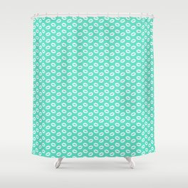Aqua Blue with White Lipstick Kisses Shower Curtain