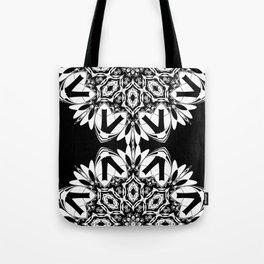 HALF BLACK AND WHITE MANDALA  Tote Bag