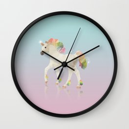 Colorful Unicorn Low Poly Polygonal Illustration Wall Clock