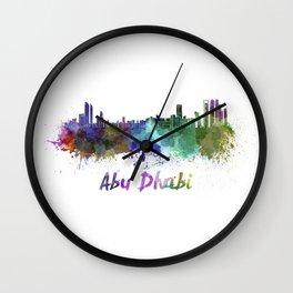 Abu Dhabi skyline in watercolor Wall Clock