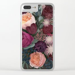 Dark florals Clear iPhone Case