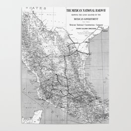 Vintage Mexico Railroad Map (1881) BW Poster