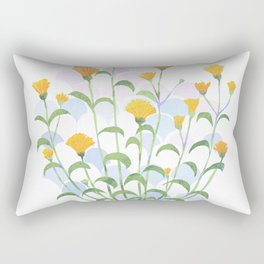 Wet Summer Flowers Rectangular Pillow