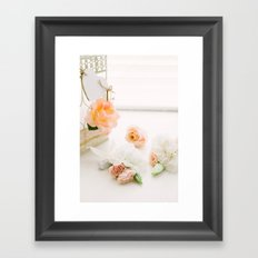 Flowers and Birdcage Framed Art Print
