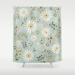 Gold Daisy Shower Curtain