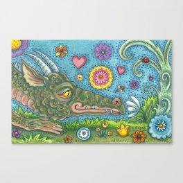 DRAGON'S SECRET GARDEN - Brack Fantasy Dragon Canvas Print