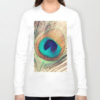 peacock feather Long Sleeve T-shirts featuring Peacock Feather  by Laura Ruth