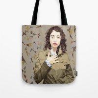 regina mills Tote Bags featuring Regina Spektor by Iany Trisuzzi