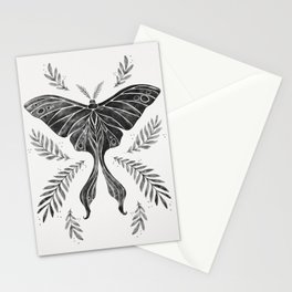 Watercolor Luna Moth in Black and White Stationery Cards