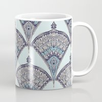 deco Mugs featuring Deco Doodle in Aqua, Cream & Navy Blue by micklyn